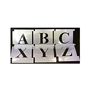 75mm Professional Interlocking Stencil Kit. Times New Roman, Upper Case. Made from 125micron Mylar Polyester. Alphabet-Schablone. Alphabet-Vorlage