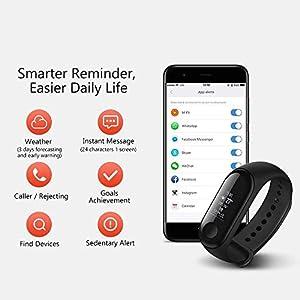Piqancy Mi 3 Band with Heart Rate Monitor, Pedometer/Sleep Monitoring/Sedentary Reminder
