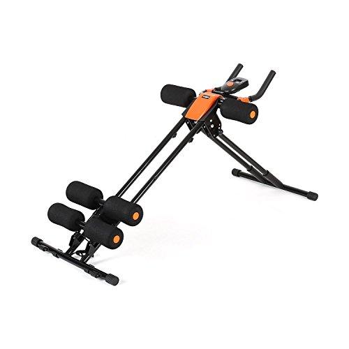 Klarfit AB Cruncher Bauchtrainer zusammenklappbar Bauchmuskeltrainer mit Trainingscomputer (Stoppuhr, Kalorienzähler, Bewegungszähler), platzsparend