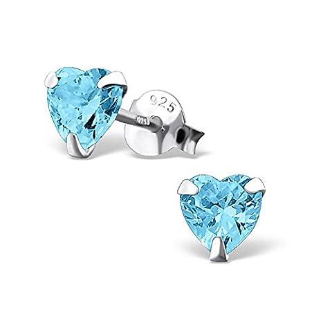 SILV Zirkonia Ohrstecker Herz türkis blau - 925 Silber Ohrringe Herz Stecker mit Zirkonia hellblau 6x6mm #SV-131