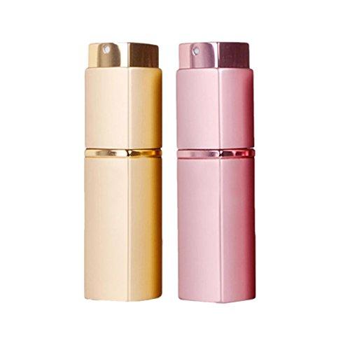20ml Bouteille de Parfum Toilette Voyage Avion Cabine - Vide Flacon Vaporisateur de Poche Spray - 2PCS Dore Rose