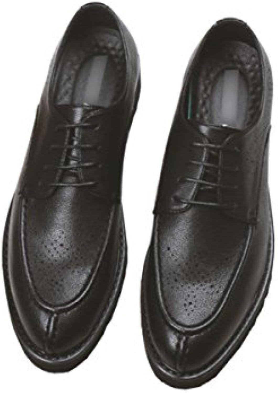 LYZGF Zapatos De Cuero De Encaje De Moda De Moda Juvenil De Primavera Y Verano Para Hombres,Black-39  -