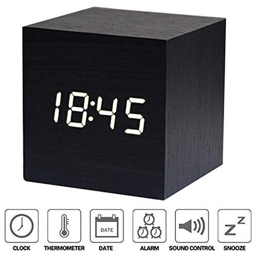 NewTop Sveglia Digitale Cube LED Digitale Orologio da Tavolo, Sveglia Digitale da Comodino con Orario Tempo Data e Temperatura Display, Sensore del Suono per l'attivazione