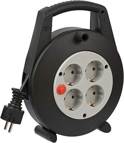 Brennenstuhl Vario Line Kabelbox 4-fach / Mini-Kabeltrommel (Indoor-Kabeltrommel für Haushalt, 5m Kabel, Made in Germany) schwarz/grau