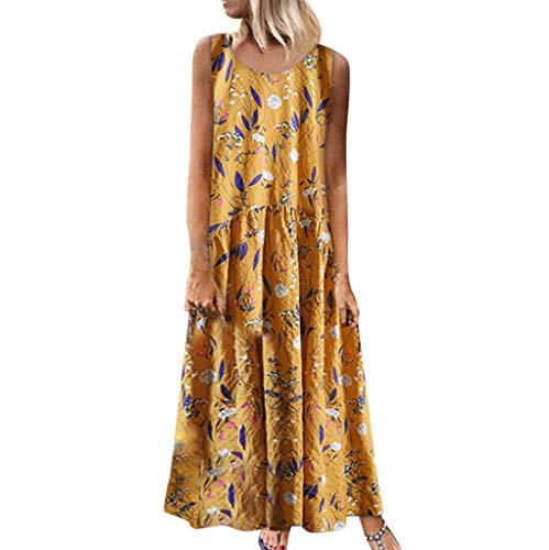 LEvifun Été Bohème Robe Longue Femme Deep V à Manche Courte Vintage Imprimé Floral Maxi Robe Cocktail De Soirée Robe De Plage Soleil Tunique
