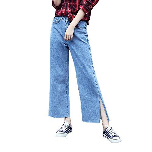 Olici MDRW-Jeans Ceinture Large Jambe Jean Étudiantes Lâche Neuf Pantalon Split Corne Large Jambe De Pantalon