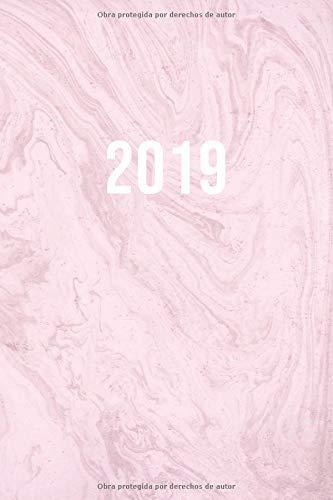 2019: ENE - DIC Agenda Semanal | 152 x 229 mm | 1 Semana en 2 Páginas | 52 Semanas Planificador y Calendario | Mármol Rosa