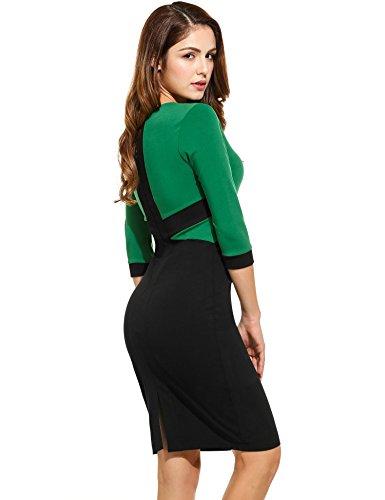 ANGVNS Damen Figurbetontes Etuikleid Rundhals Knielang Business Kleid mit Flickwerk Grün