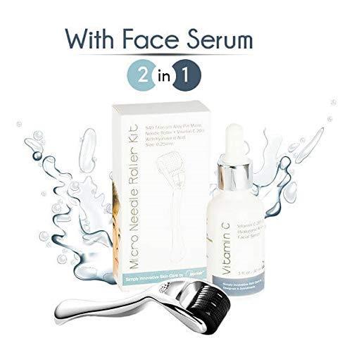 Derma Roller Microneedle Kit con suero facial: el kit incluye la micro  aguja Dermaroller + vitamina C con suero facial de ácido hialurónico que