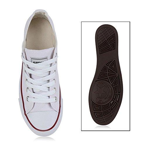 Damen Herren Kinder Unisex Schuhe Sneaker low Top Schnürschuh Halbhoch Weiß