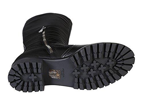 Prada Stivali al Ginocchio in Pelle e Tessuto Nero - Codice Modello: 3W6110 1O4R F0002 Nero