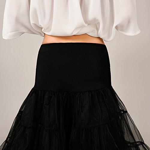 VKStar® Kurz elastische Taille petticoat Krinoline Unterrock Reifrock für Kleider Schwarz