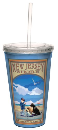 Tree-Free Greetings cc33040 Vintage New Jersey Boardwalk by Joanne Kollman Artful Traveler Double-Walled Cool Cup with Reusable Straw, 16-Ounce by Tree-Free Greetings (Vintage New Jersey)