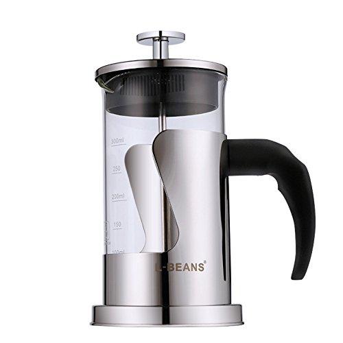 Kaffeebereiter, L-beans Edelstahl French Press Kaffeemaschine 3 Tassen, 350 ml