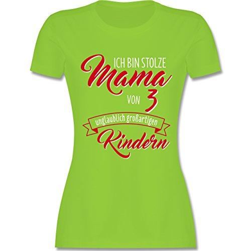 Muttertag - Ich Bin Stolze Mama von 3 Unglaublich Großartigen Kindern - Damen T-Shirt Rundhals Hellgrün