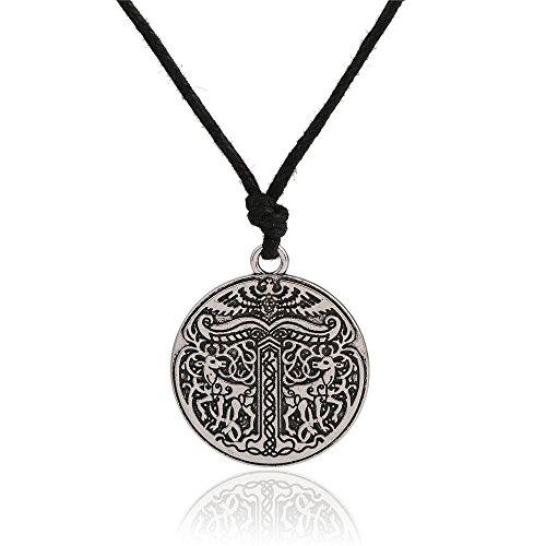 Wicca Tree Of Life Yggdrasil Doppel Deers Runen Anhänger Halskette Schmuck
