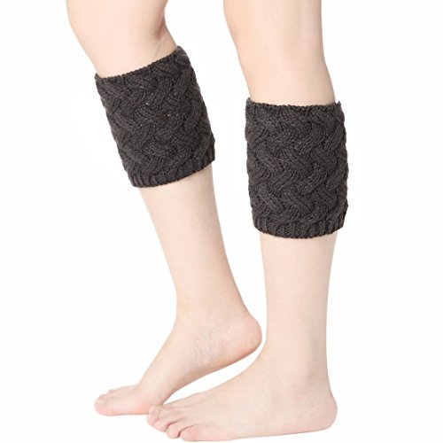 Damen Stulpen Gehäkelt Boot Manschette Cable Knit Beinlinge kurz (Knit Boot)