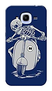 Samsung Galaxy J2 Pro 2016 Black Hard Printed Case Cover by Hachi - Skull Man Design