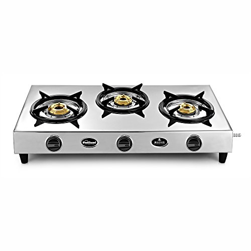 Sunflame Bonus 3 Burner Stainless Steel Gas Stove with 2 Year Warranty