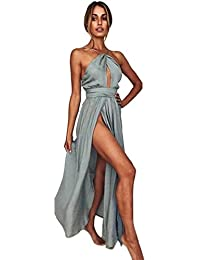 4ec6b736161 Longra Robe Longue Femme Vintage Robe Femme Dos Nu Sexy Robe Femme Soirée Robe  Cocktail Élégant