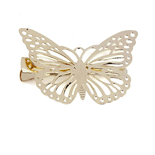 Longra Glänzende goldene Schmetterling Haarspange Stirnband Haarschmuck Haarschmuck