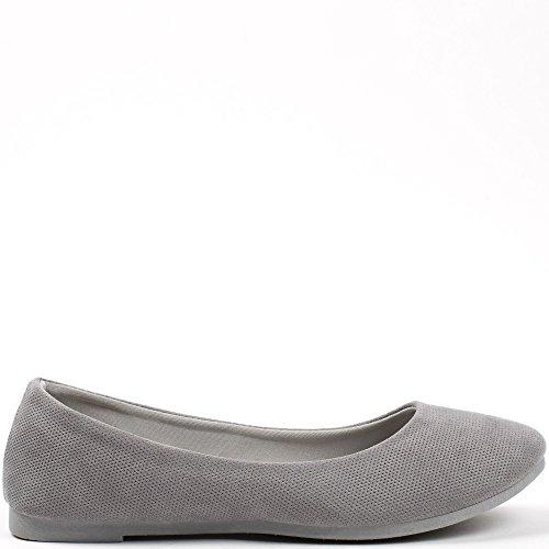 Ideal Shoes Ballerines en Tissu Geraldine Gris foncé
