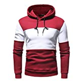 SEWORLD Sport Herren Mode Freizeit Oberteile Bluse Sommer Herbst Einzigartig Herren Winter Langarm Patchwork Fleece Hooded Sweatshirt Outwear Tops(Rot,EU-50/CN-L)