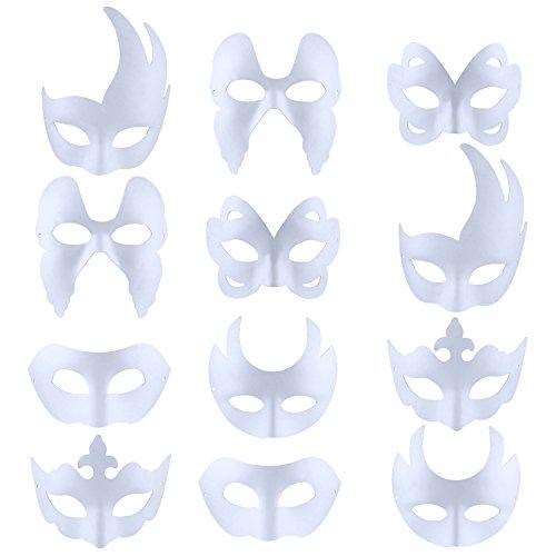 Weiße Maske, Outgeek 12pcs Maske Unlackiert Maskerade Maske DIY Dekoration Venezianischen Karneval Halloween Cosplay Kostüm für Kinder Frauen Männer