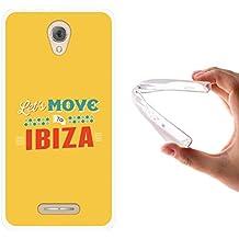 Funda Alcatel Pop 4, WoowCase [ Alcatel Pop 4 ] Funda Silicona Gel Flexible Let's Move To Ibiza, Carcasa Case TPU Silicona - Transparente