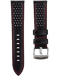 Genuine cuero perforado correa de reloj, Negro, Rojo, 22mm
