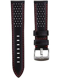 Correa del reloj Geckota cuero genuino Perforado Negro 20mm