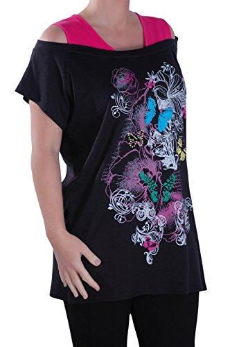 Eyecatch - Dames Tunique Graphique Papillon Twinset Insérer Gilet Aux Femmes Longue Ligne Impression Tops Fuschia