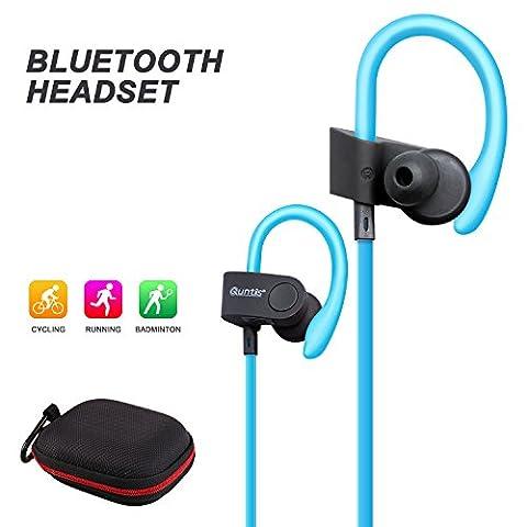 Quntis® Bluetooth Kopfhörer Sport Ohrhörer Bluetooth Headset für Andriod und Apple Smartphone wie Samsung, HTC, Sony, Blackberry, iPhone 7 6s 6s Plus 6 6 Plus 5 5s 5c SE, iPod usw. (Blau)