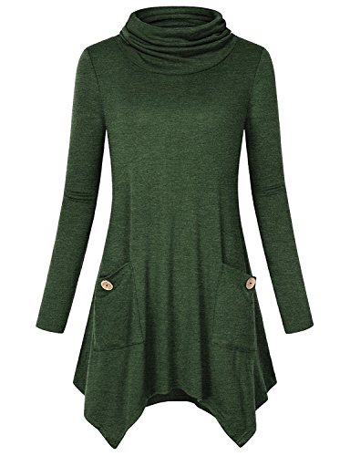Swing Oberteile Damen,Anna Smith Juniors Rollkragen Baumwolle beiläufige Breathable Shirts Langarm Loose Fit Active Bluse Leichte Volltonfarbe Pullover Fashion Design Tuniken Green Olive Khaki Large (Tunika Design)