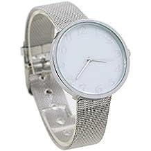 Reloj - SODIAL(R)reloj de pulsera de acero inoxidable de manera analogica de senoras blanco