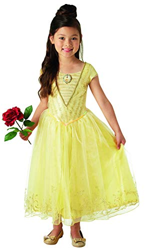 Fancy Ole - Mädchen Girl Kinder Belle Kostüm, Live Action Movie Deluxe, perfekt für Karneval, Fasching und Fastnacht, 128-140, Gelb