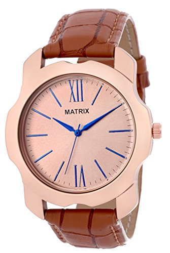 Matrix Analog Rose Gold Color Case & Dial, Brown Leather Strap Men & Boys Watch-WCH-273  available at amazon for Rs.399