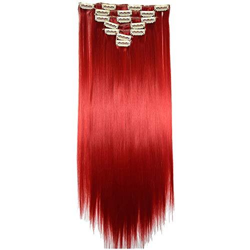 Longra Femmes 16 Clips Tête complète Naturelle Synthétique Cheveux raides Extensions Extensions Cheveux Élastique Cheveux Perruque Courte Blonde pour Cheveux raides de Longueur épaule (V1)