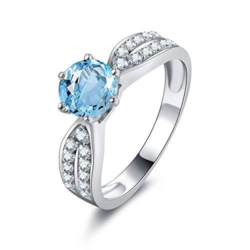 Bishilin Ringe Sterling Silber Damen Hellblau Topaz Kristall Verlobungsring Silber Hochzeitsring Gr.53 (16.9)