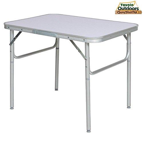 Bakaji tavolo camper campeggio picnic alluminio pieghevole a valigetta per spiaggia o giardino (90 x 60 x 70cm)