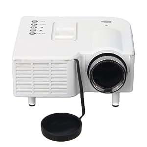 Excelvan® Nouveau Mini Videoprojecteur vidéo projecteur LED Home Cinéma Théâtre PC&Laptop VGA/USB/SD/AV/HDMI 320 x 240 Résolution 300:1 - Blanc