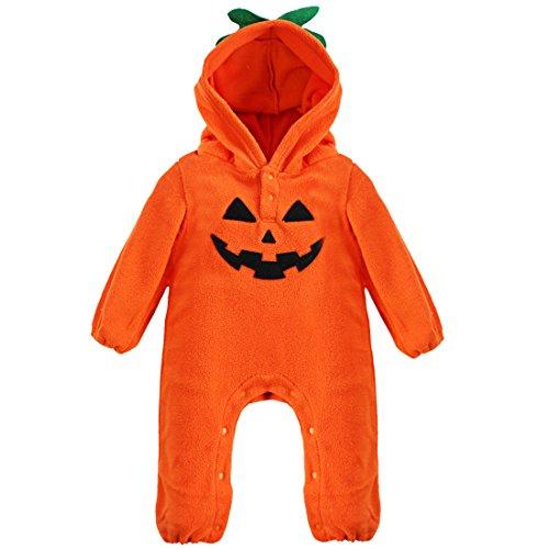FEESHOW Baby Strampler Kapuze Kostüm Schneeanzug Kürbis/Fledermaus Muster mit Öhrchen Langarm Warm für Halloween Party Geburtstag Orange 9-12 - Baby Kürbis Kostüm Muster