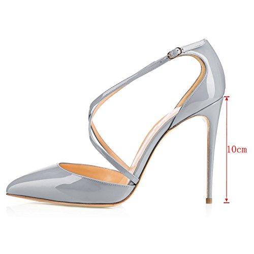 EKS Damen Ankle Strap 10cm High Heels Spitze Pumps Damenschuhe EU 35-46 Grau