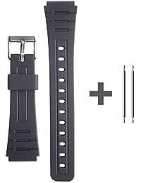 OcioDual Correa de Repuesto Compatible con Reloj Casio F-91W Negra Pulsera 18mm Plastico con Pasadores Metálicos Recambio F91