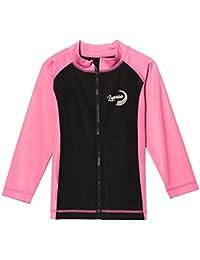 Lapasa Camiseta Para Niño o Niña con Protección Solar UPF50+ (98% Anti UV). Camiseta Tipo Chaqueta Rashguard con Cremallera, Ideal Para La Playa o Piscina (K02)