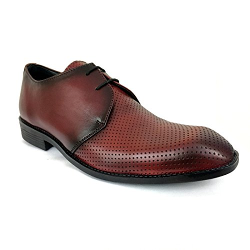 Formal Shoes Men Genuine Leather Stylish Lace up Eagle Toe Dotted Blackish Cherry Size 6  available at amazon for Rs.1499
