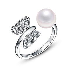 Idea Regalo - Wristchie Bling Jewelry-Orecchini da donna in argento Sterling 925, con perla e Anello regolabile vintage, a forma di farfalla