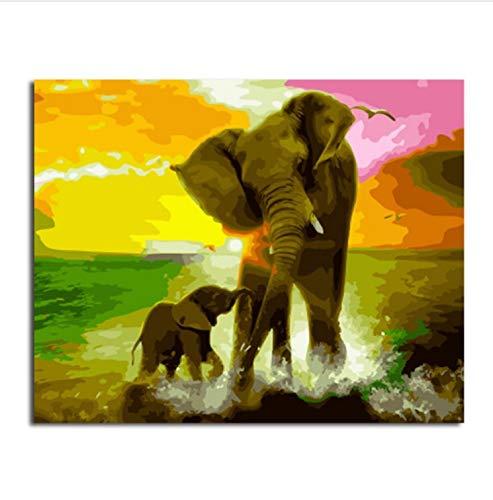 Cuadro Bricolaje Pintura Por Números Pintura Y Caligrafía De Animales Loely Elefantes...