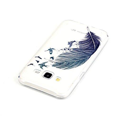 Vandot Coque pour Samsung Galaxy J5(2015) J500 Silicone TPU Bumper Unique Design Souple TPU Soft Cover Effacer Clair transparent Etui Housse Case - Feather Motif-1