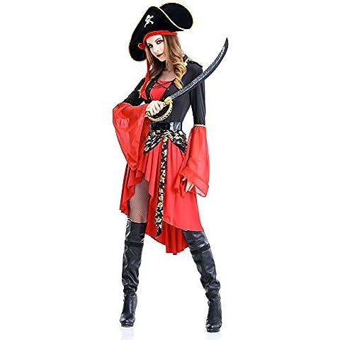 Sexy Ladies Cosplay pirata del vestito operato del partito Costume di scena di prestazione vestiti di Halloween di ruolo adulto Tentazione uniforme con il pannello esterno, il cappello e cintura(XXL)